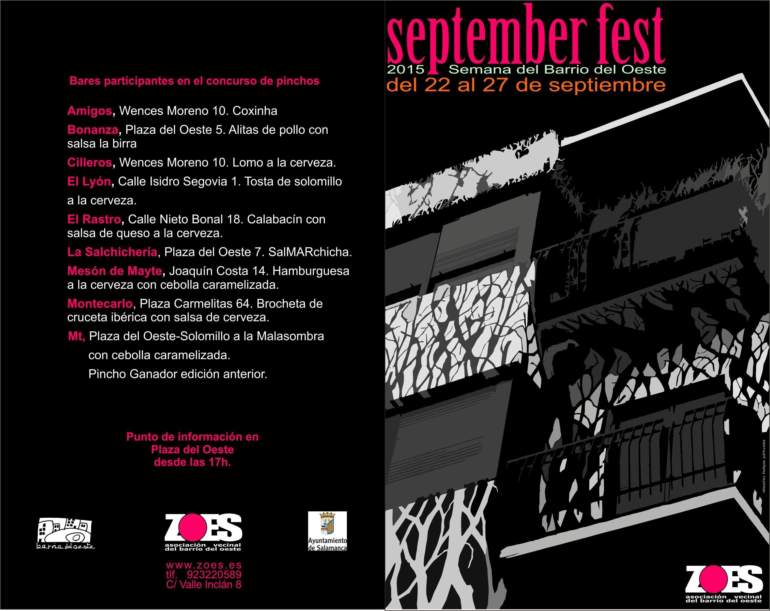 Concurso Pinchos September Fest. Semana del Barrio del Oeste