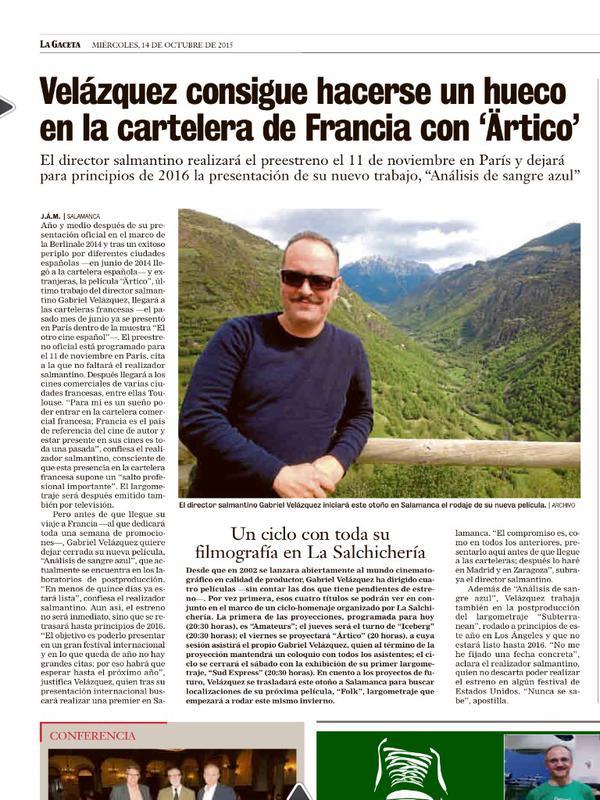 Gabriel Velázquez en La Gaceta
