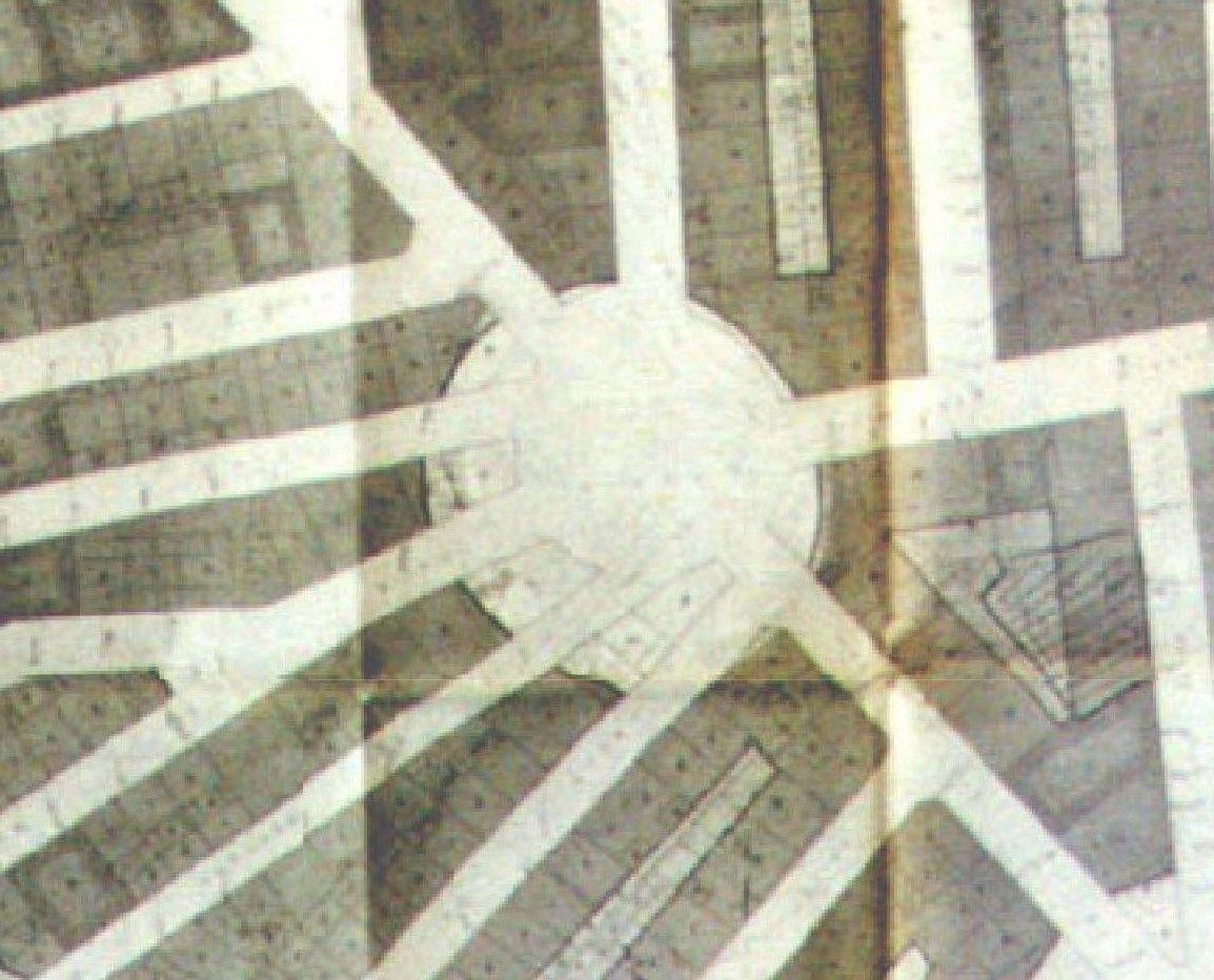 Dimensión de la plaza del oeste en Plan Parcial de la Zona 10 1969_Fuente libro David Senabre