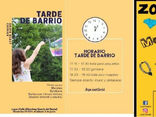 Este fin de semana  5 planazos gratis en el Barrio del Oeste,  en la Calle Gütenberg actividades para todos y …¡Teatro!
