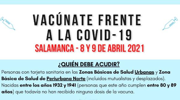 Vacunación frente a la covid-19 los próximos 8 y 9 de abril