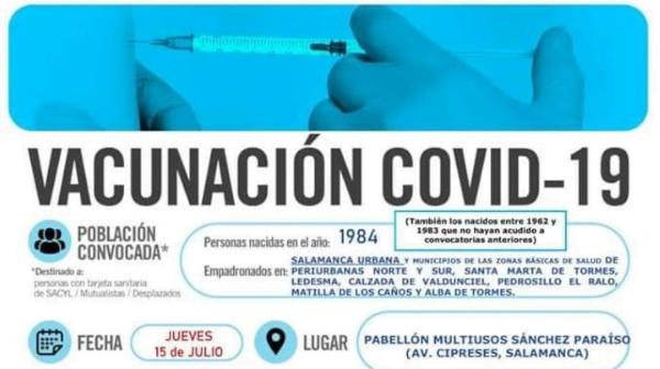 Nuevas fechas de vacunación para nacidos en 1984 y 1985