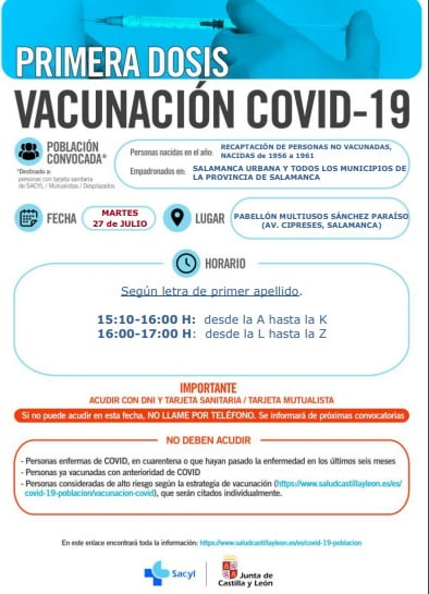 Convocatoria de vacunación para los nacidos en los 90